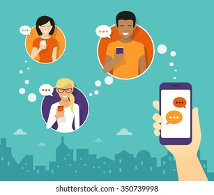 Human hand hold a smartphone and sending messages to friends via messenger app. Flat illustration