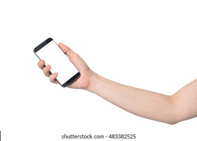 human hand hold smartphone, tablet, cell phone with blank screen on isolated white background.