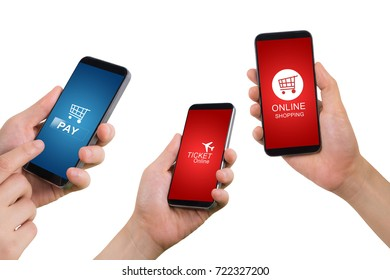 human hand hold smartphone, tablet, cell phone with application icon  screen on isolated white background. concept of mobile application.