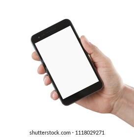 Human hand holding blank smart phone isolated on white  background with copy space