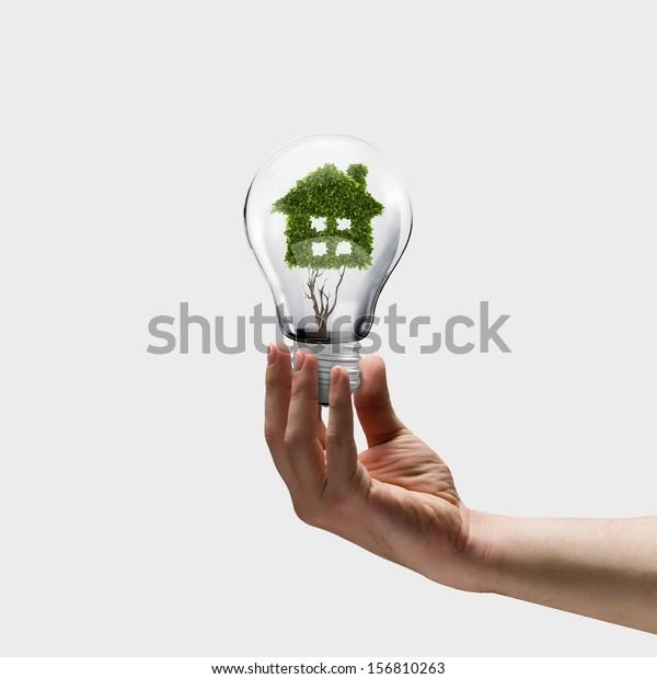 Human hand holding bulb with plant shaped like house