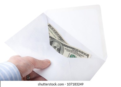 Human hand holding dollar currency letter envelope isolated on white background