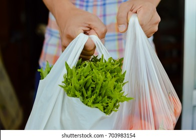 Human hand holding farmer market bag with natural vegetables. Copy space healthy looseweight nutrition lifestyle. Close up photography