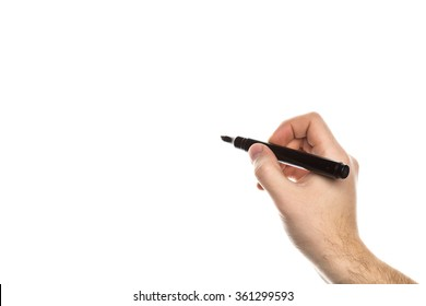 Human hand holding a marker