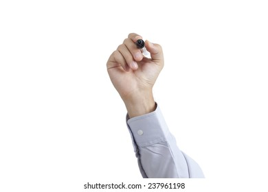 Human hand holding marker and writing or drawing, isolated on white background with space for text. (include clipping path )