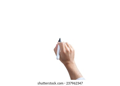 Human hand holding marker and writing or drawing, isolated on white background with space for text. (include clipping path)
