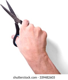 Human Hand Holding a Scissors - Isolated