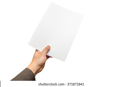 Human hand holding a sheet of paper isolated on white background