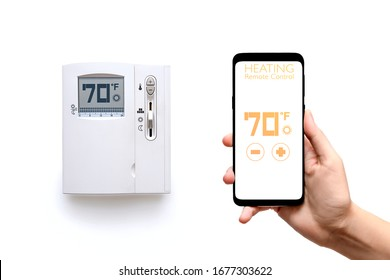 Human hand holding smart phone with smart home heating control system with thermostat regulator of temperature screen isolated on white background. New technology the running of  home