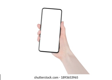 Human hand holds black smartphone blank screen white background isolated close up, woman's hand holding mobile phone, modern design cellphone in female hand, mockup, template, copy space for your text