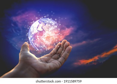 The human hand holds the network globe Creativity, ideas and innovation.This element is decorated by Nasa.
