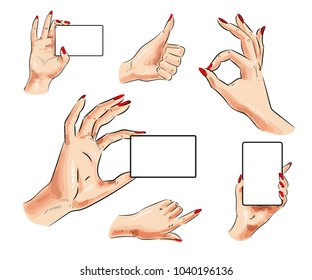 Human hand icon set. Female hand with card and thumb up, pointing finger, okay hand signs isolated on white background.