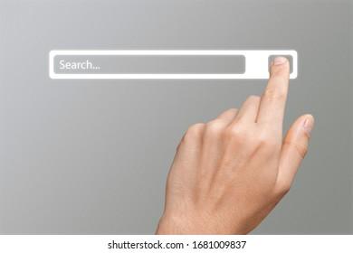 Página de búsqueda de mano humana e Internet