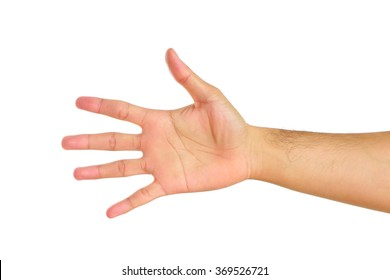 Human hand isolated on white background.