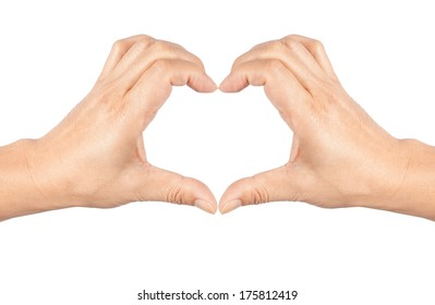 human hand making heart sign