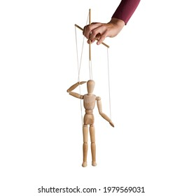 The human hand with marionette on the strings. Concept of control. On white.
