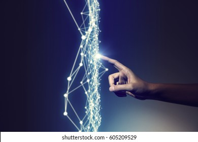 human hand and mesh network abstract, 3D rendering