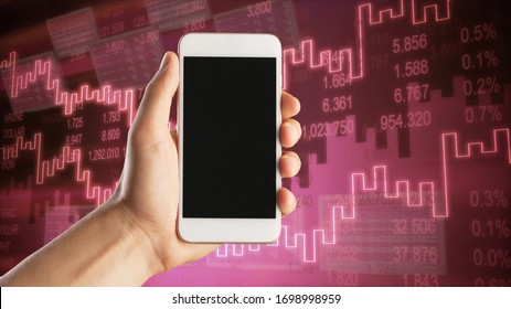 Human hand with a mobile phone and global stock illustrations