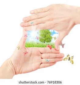 Human hand and nature. Symbol of the environment. Collage.