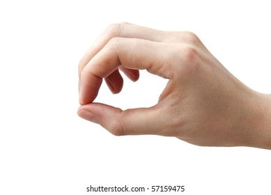 Human hand on the white background