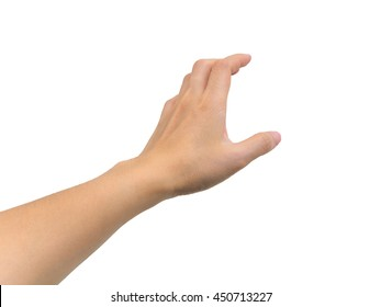 Human hand in picking gesture isolate on white background with clipping path