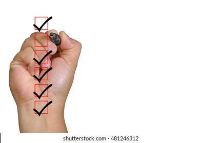 Human hand in process to complete all checklist boxes and copy space area isolated on white