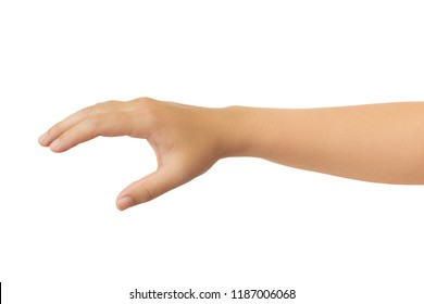 Human hand in reach out one's hand and picking gesture isolate on white background with clipping path