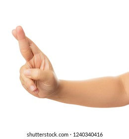 Human hand in reach out one's hand and crossing two finger gesture sign of indicating luck or show desire of favorable outcome, Isolate on white with clipping path, High resolution and low contrast