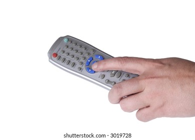 human hand with remote control isolated on white