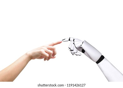 Human hand and robot hand system concept Integration and coordination of intellectual technology.