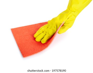 human hand with rubber glove wiping with a cloth