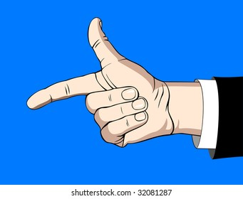 Human hand shaping fingers into the gotcha sign on blue. Bitmap version