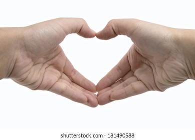Human hand showing heart shape