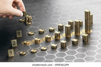 Human hand stacking coins over a black background with hexagonal golden shapes. Concept of investment management and portfolio diversification. Composite image between a hand photography and a 3D back - Shutterstock ID 1909361299