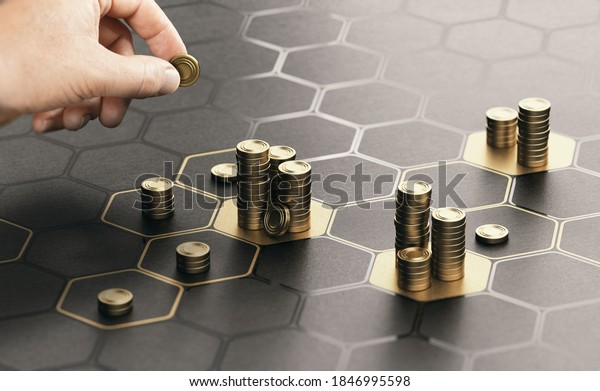 Human hand stacking coins over a black background with hexagonal golden shapes. Concept of investment management and portfolio diversification. Composite image between a hand photography and a 3D back