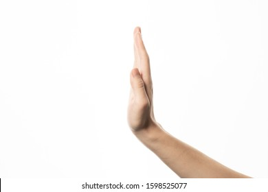 Human hand in stop gesture isolate on white background