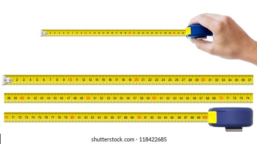 human hand with tape-measure and set of pieces allowing to make any size of tape up to one meter