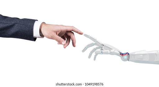 Human hand touching an android hand. 3d rendering.