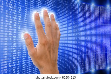 human hand is touching digital matrix that starts to shine and radiate energy