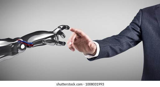 Human hand touching robotic hand. 3d rendering.