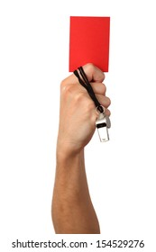 Human Hand with whistle, red card, Isolated on white background.