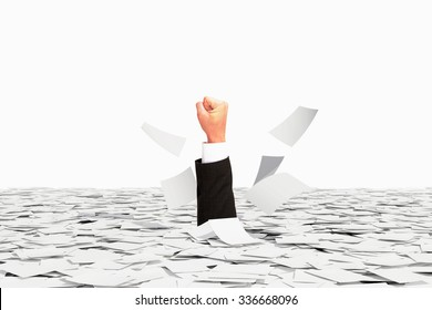Human hand winner sticks of pile of paper, victory over bureaucracy concept