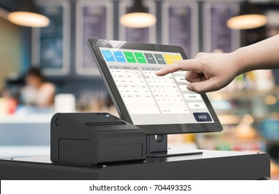human hand working with 3d rendering cashier machine