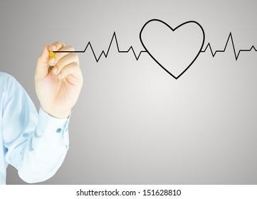 Human hand writes heart graph