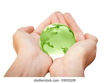 human hands carefully holding Earth planet. Glass World
