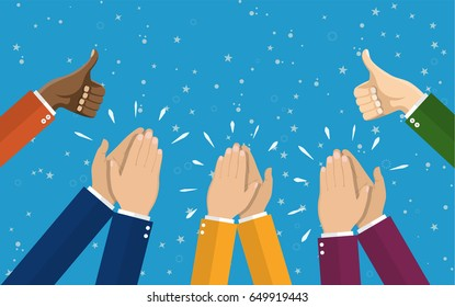 Human hands clapping. applaud hands. illustration in flat style. Raster version