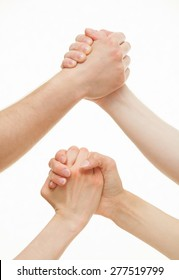 Human hands demonstrating a gesture of a strife or solidarity, white background