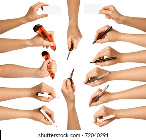 human hands with different tools