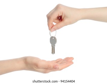 Human hands and keys isolated on white background
