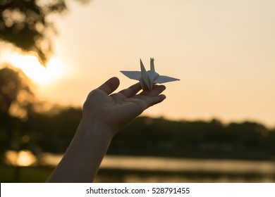Human hands open palm up.Silhouette of one helping hand,Silhouette of woman praying over beautiful sky background,Silhouette of pigeon and freedom,